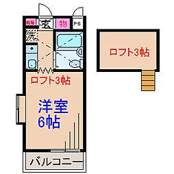神奈川県横浜市港北区菊名5の賃貸アパートの間取り