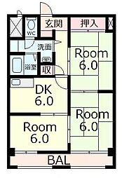 タイハイツ桜宮[8階]の間取り
