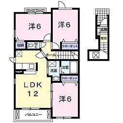 南海線 樽井駅 徒歩20分の賃貸アパート 2階3LDKの間取り