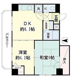 神奈川県横浜市鶴見区汐入町2丁目の賃貸マンションの間取り