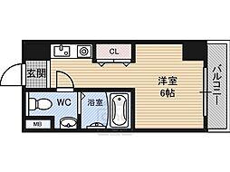 パティオ京橋 4階ワンルームの間取り