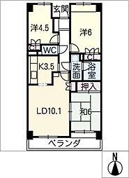 植田中央パーク・ホームズ 302号室[3階]の間取り