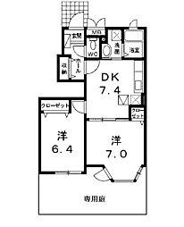 東京都町田市南成瀬7丁目の賃貸アパートの間取り