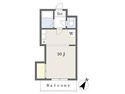 JR豊肥本線 光の森駅 4kmの賃貸マンション 4階ワンルームの間取り