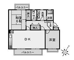 パステル東林間[2階]の間取り
