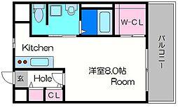 ヴァンスタージュ大阪城East 5階ワンルームの間取り