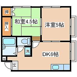 兵庫県神戸市中央区上筒井通1丁目の賃貸アパートの間取り
