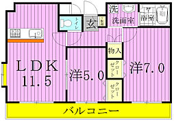 千葉県松戸市日暮5丁目の賃貸マンションの間取り
