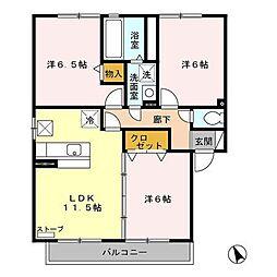 アバンサードA[1階]の間取り