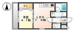 (仮称)中杉町1丁目新築アパートB棟[1階]の間取り