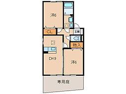メゾンフローラB棟[1階]の間取り