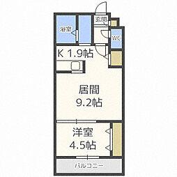 札幌市営南北線 北34条駅 徒歩2分の賃貸マンション 4階1LDKの間取り