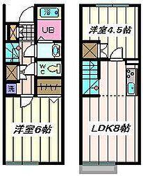埼玉県さいたま市見沼区大谷の賃貸アパートの間取り
