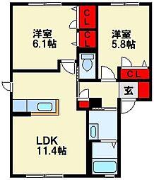 ヴェルドミールK A棟[1階]の間取り