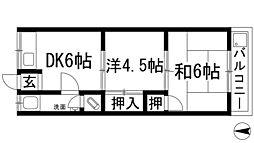 大阪府池田市満寿美町の賃貸マンションの間取り