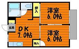 岡山県倉敷市大島の賃貸アパートの間取り