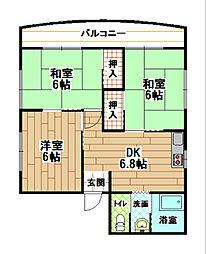 コーポ角田[2階]の間取り
