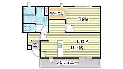 エクセラン國木I[102号室]の間取り