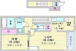 仙台市地下鉄東西線 八木山動物公園駅 3.4kmの賃貸アパート 2階1LDKの間取り
