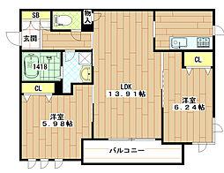 (仮称)東大阪市シャーメゾン岩田町1丁目[203号室]の間取り