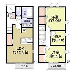[テラスハウス] 神奈川県相模原市南区御園5丁目 の賃貸【/】の間取り