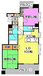 東京都東久留米市東本町の賃貸マンションの間取り