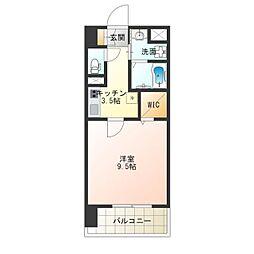 グランパシフィック花園Luxe 3階1Kの間取り