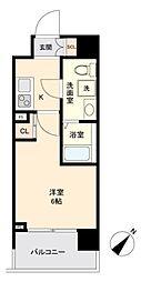 JR山手線 目黒駅 徒歩10分の賃貸マンション 2階1Kの間取り