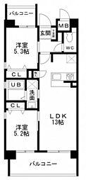 WESTIN ISHIUCHI 4階2LDKの間取り