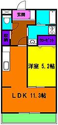 静岡県浜松市南区瓜内町の賃貸マンションの間取り