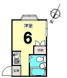 ハイツ海老澤2号館[201号室]の間取り