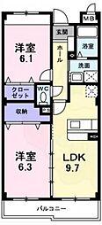 南海高野線 萩原天神駅 徒歩4分の賃貸マンション 1階2DKの間取り