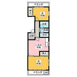 コーポひら乃[3階]の間取り