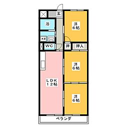 アパートメントハウス朴の樹[5階]の間取り