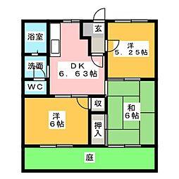 福元ハイツB棟[1階]の間取り