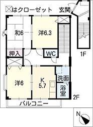 ハイステージ城屋敷A[2階]の間取り