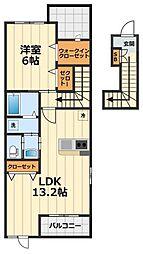 神奈川県大和市深見の賃貸アパートの間取り