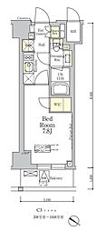 東京メトロ南北線 麻布十番駅 徒歩7分の賃貸マンション 2階1Kの間取り