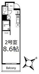 ブリティッシュクラブ鶴見 6階ワンルームの間取り
