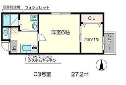 nico西京極 3階2Kの間取り