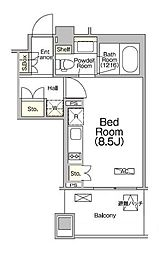 都営新宿線 浜町駅 徒歩2分の賃貸マンション 3階ワンルームの間取り