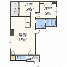 北海道札幌市中央区南五条西1丁目の賃貸マンションの間取り