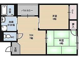 サウスアベニュー 5階2DKの間取り