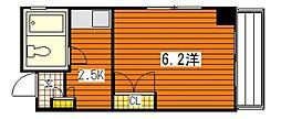 広島県広島市南区宇品御幸5丁目の賃貸アパートの間取り