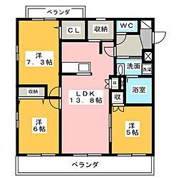 Blanc Court E(東)、W(西)[1階]の間取り
