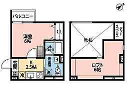 大阪府堺市堺区南旅篭町西3丁の賃貸アパートの間取り