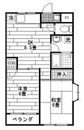 第5モリヤハイツ[3階]の間取り