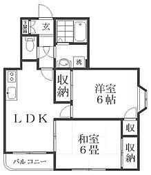 ラ・エスポワール[1階]の間取り