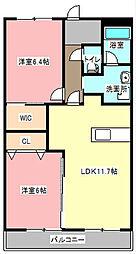 静岡県浜松市東区積志町の賃貸マンションの間取り