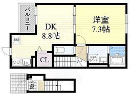 阪急京都本線 富田駅 徒歩12分の賃貸アパート 2階1LDKの間取り